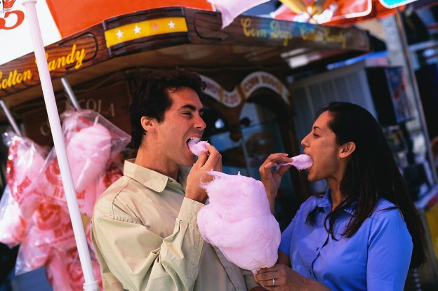 Couple Eating Cotton Candy