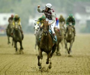 JOCKEY JOSE SANTOS CELEBRATES AFTER WINNING PREAKNESS STAKES